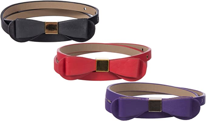 Sunny Belt Girls 1//2 Wide 2 Pack Faux Leather Belts In An Assortment Of Colors /& Styles