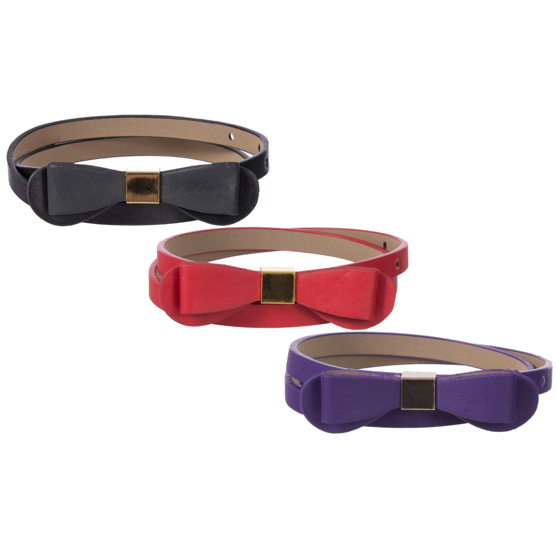 Sunny Belt Girl's 3-Pack Thin Waist Belts with Bow Details (Medium)