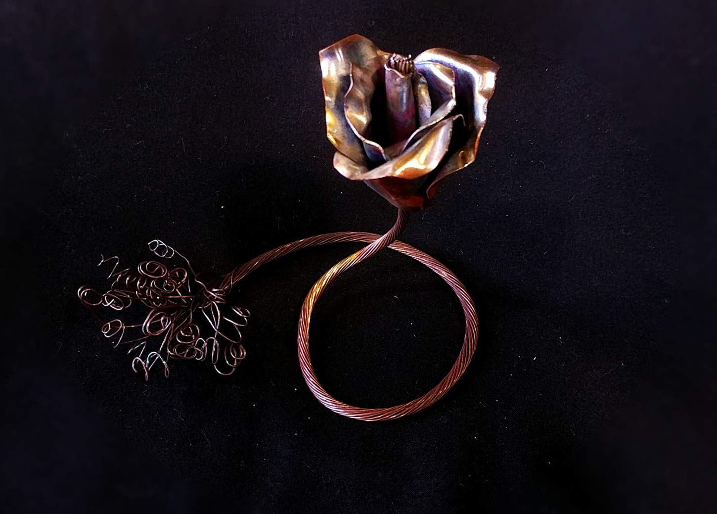 Copper Rose'' I Love You'' #1552 Steampunk Industrial birthday 7th Anniversary Unique Mother's Day Valentine's Day Christmas present