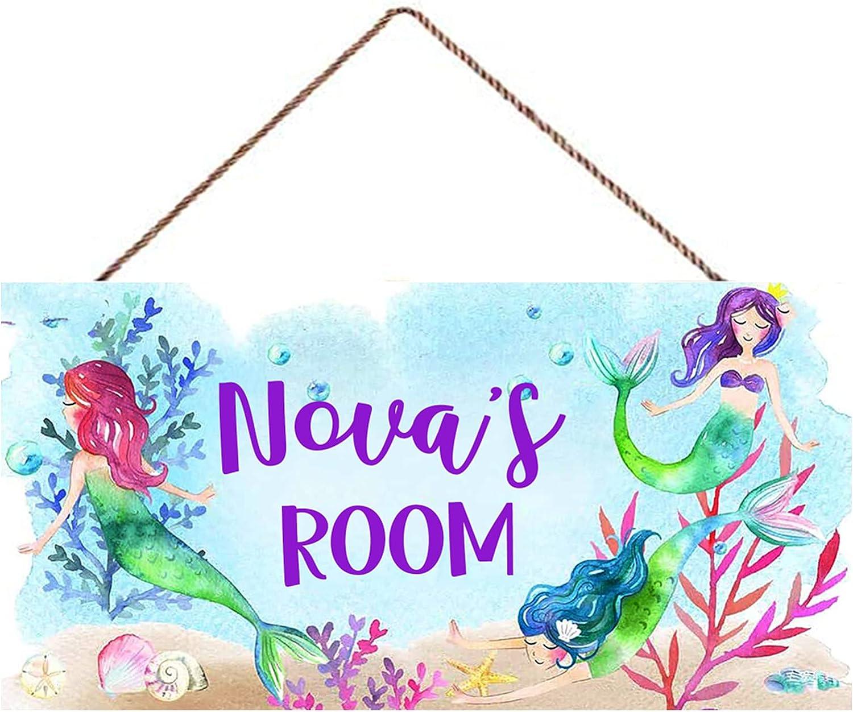 Jinrun Personalized Mermaids Decor Signs for Girls Bedroom, Room Decor for Teen Girls, Door Wall Decor Art Wooden Signs