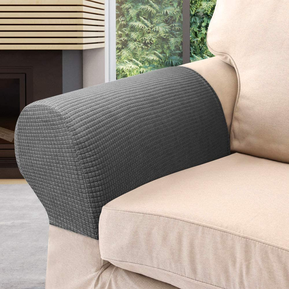 Brow Yours Bath 2Pcs Armrest Covers Spandex Stretch Fabric Waterproof Arm Caps Anti-Slip Furniture Protector Slipcovers for Armchairs Sofa Couches Recliner