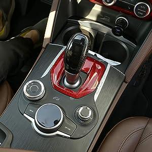 LLKUANG for Alfa Romeo Giulia Stelvio Red Carbon Fiber Interior Center Console Gear Shift Panel Cover Trim