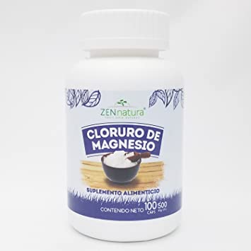 Zen Natura Cloruro de Magnesio Capsulas, Magnesium Chloride caps, Bottle of 100 caps of