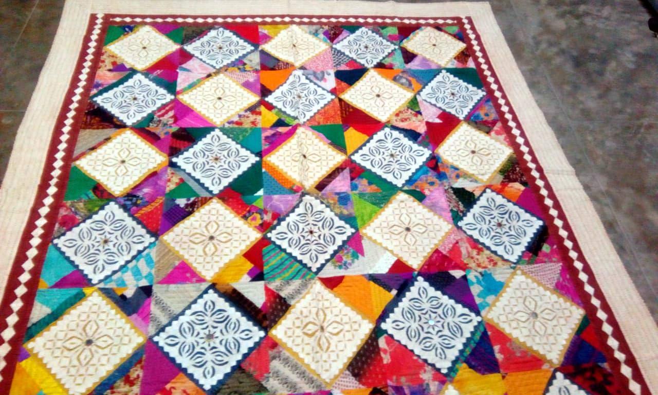 Marusthali Patchwork Double Bedspread Vintage Indian Bedsheet Heavy Embroidery Ethnic Bed Cover Patchwork Bedspread Sheets Size 90 by 108 Inches MBST00450