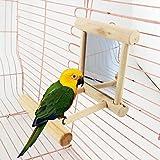 Amrka Pet Bird Mirror, Bird Perches for Parrots Stand Wooden Play Toys For Parrot Budgies Parakeet Cockatiel Conure Finch Lovebird