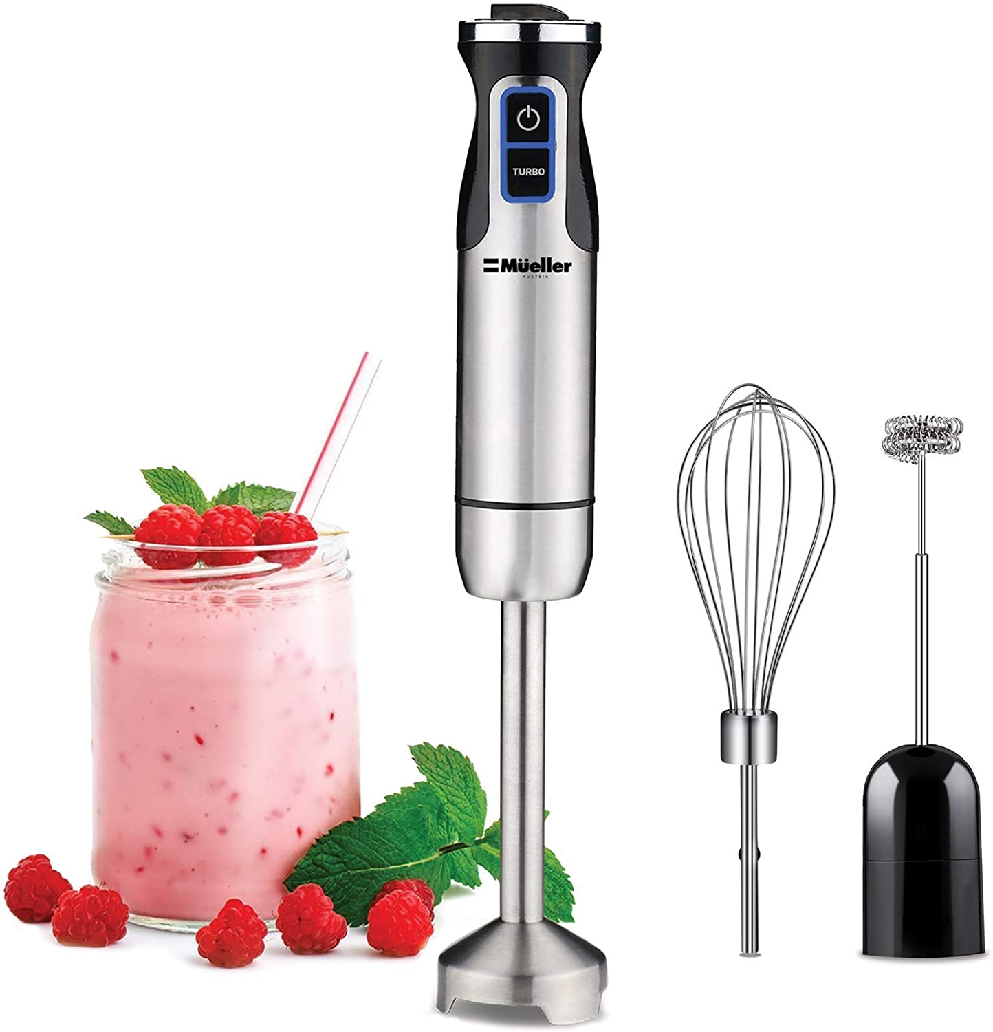 Mueller Austria Ultra-Stick 500 Watt 9-Speed Immersion Multi-Purpose Hand Blender Heavy Duty Copper Motor Brushed 304 Stainless Steel With Whisk, Milk Frother Attachments: Kitchen & Dining