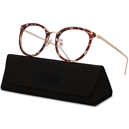 03934353e72b Amazon.com: SojoS Round Women Eyeglasses Fashion Eyewear Optical Frame  Clear Glasses SJ5969 with Havana Brown Frame/Gold Temple: Clothing