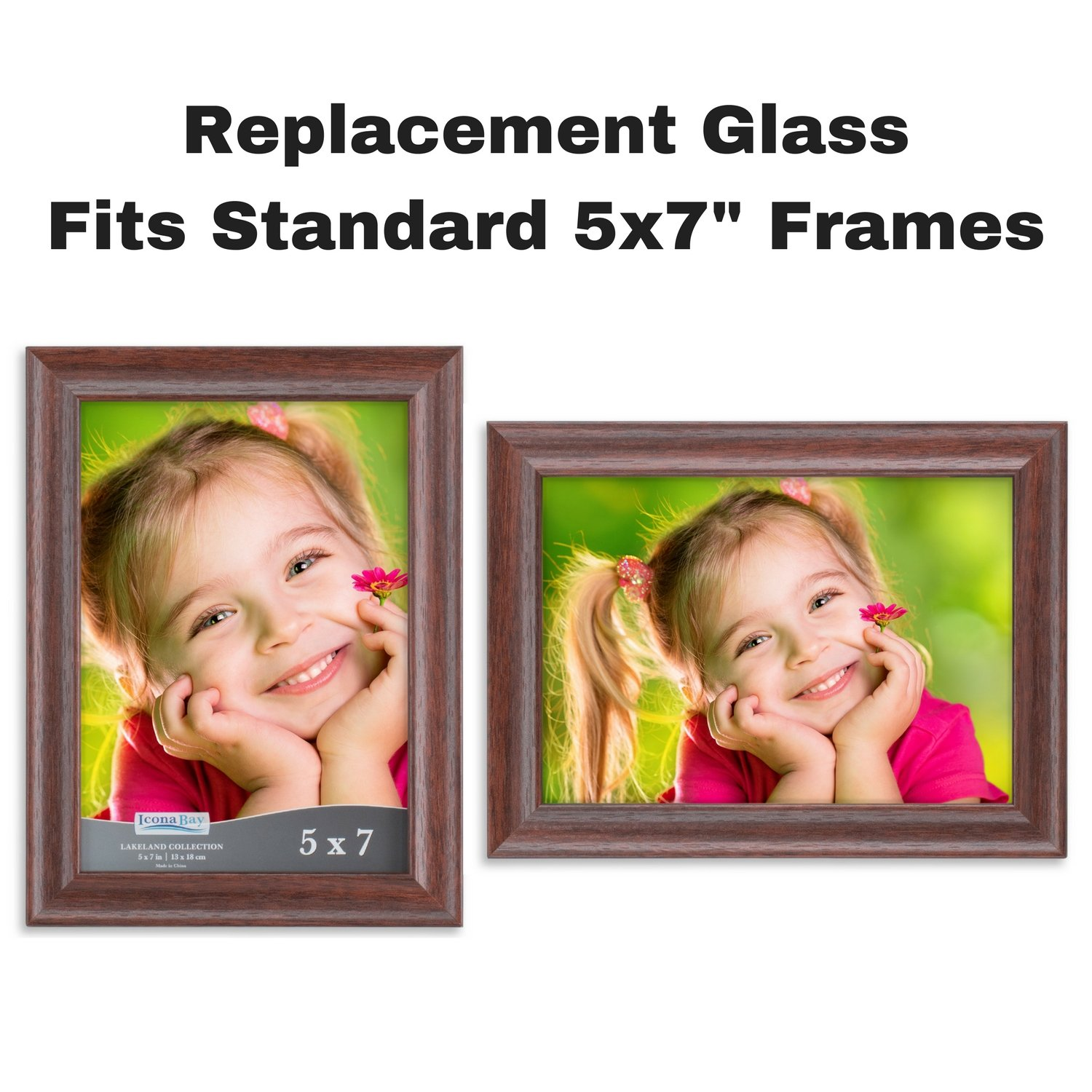 Icona Bay 5x7 Picture Frame Glass Replacement 5 X 7 2 Pack Replacement Glass For 5 By 7 Photo Frame Real Glass Cover