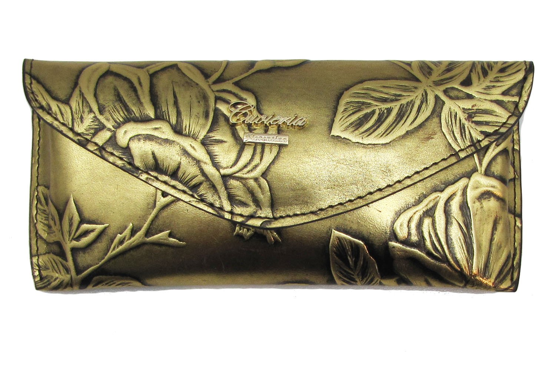 Cuoieria Fiorentina Italian Tooled Leather Eyeglass Case (Gold)
