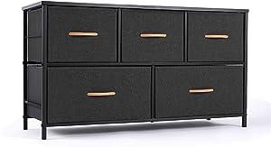 ROMOON Dresser Organizer with 5 Drawers, Fabric Storage Drawer Unit, Dresser Tower for Bedroom, Hallway, Entryway, Closets, Nursery - Wide Dark Indigo