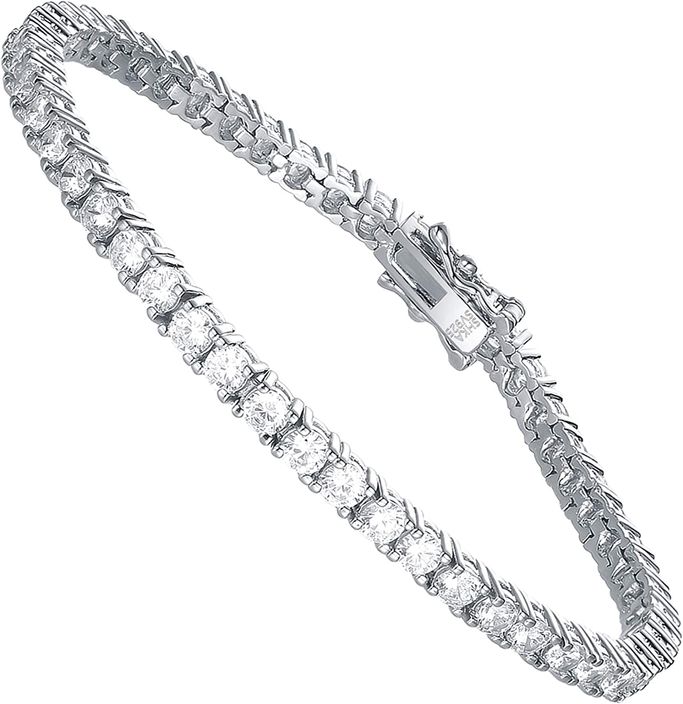 Amazon.com: SHKA 925 Sterling Silver Round Cut Tennis Bracelet 18K Women's  Bracelet CZ Bracelets with Sparking Cubic Zirconia: Clothing