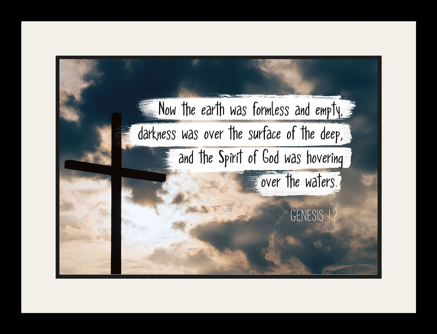 Genesis 1:2 Now the earth was formless - Christian Poster, Print, Picture or Framed Wall Art Decor - Bible Verse Collection - Religious Gift For Holidays Christmas Baptism (19x25 Framed) by WeSellPhotos