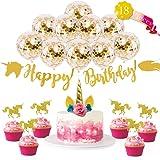 Unicorn Birthday Party Set (18pcs) Unicorn Cake Topper, Unicorn Cupcake Toppers, Balloons & Happy Birthday Banner Decoration