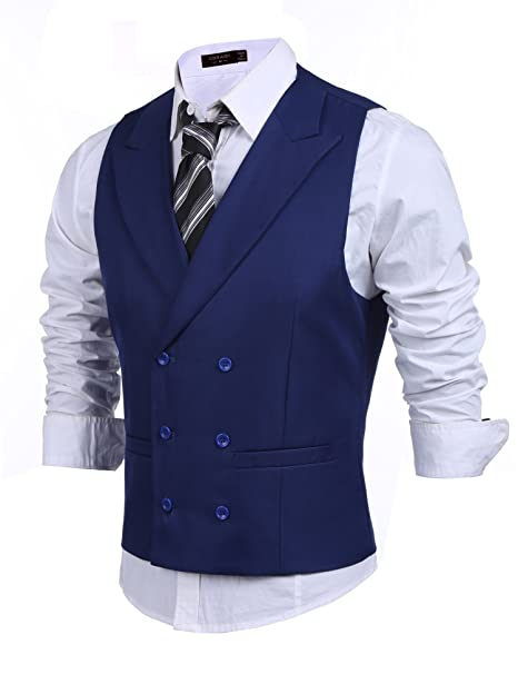 Downton Abbey Men's Fashion Guide Coofandy Mens Double Breasted Suit VestSlim Fit Business Formal Dress Waistcoat $29.99 AT vintagedancer.com