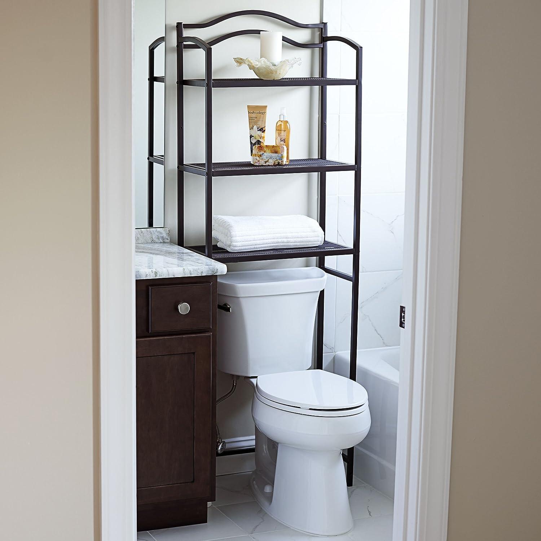 amazoncom household essentials 3 tier over the toilet storage rack espresso home kitchen