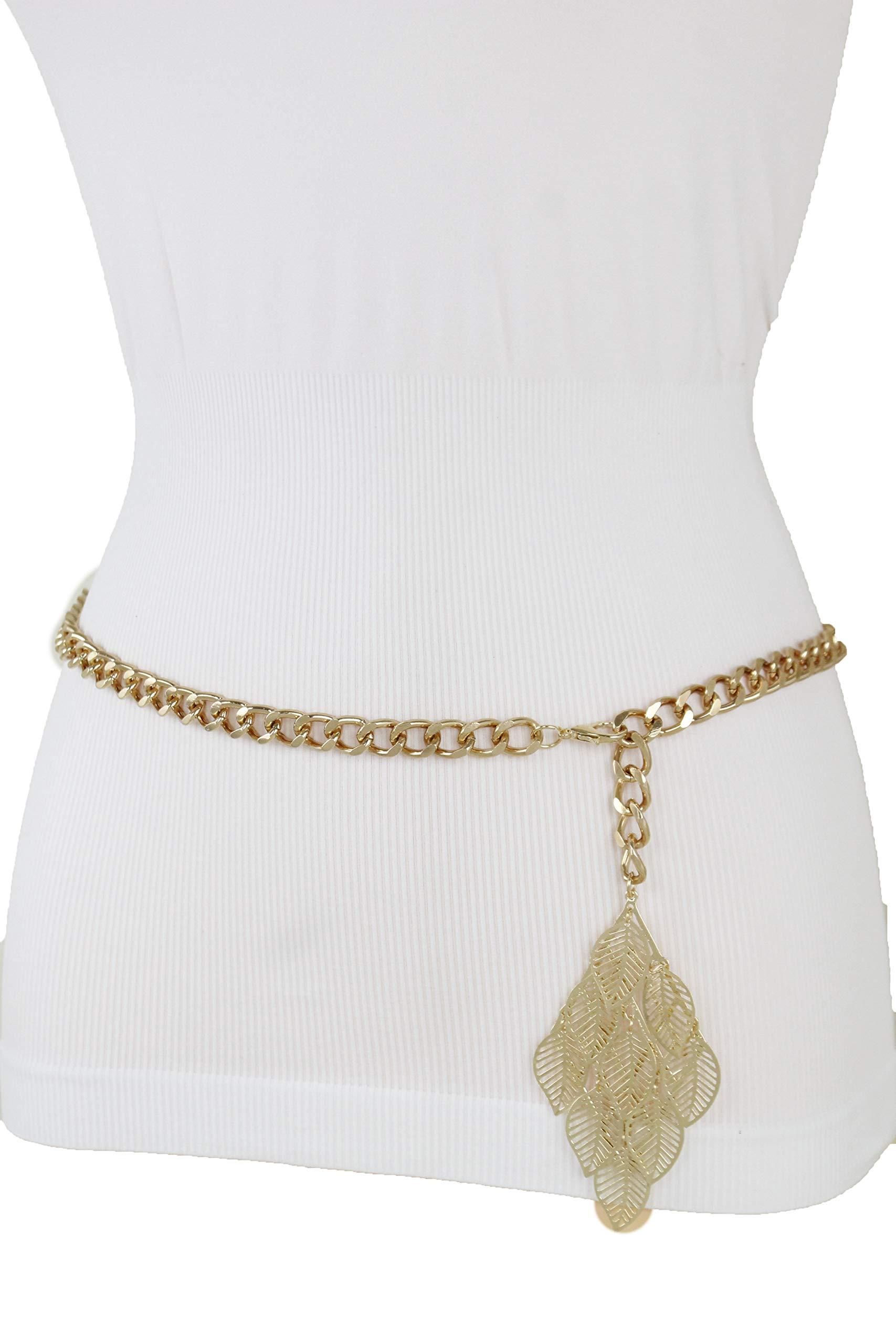 TFJ Women Fashion Belt Hip High Waist Narrow Waistband Gold Metal Chain Leaf Charm Buckle M L XL
