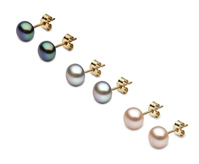 Kimura Cultured Natural Colour Button Shape Freshwater Pearl Ear Studs, 9 ct