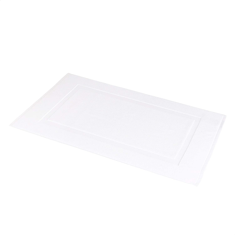 Amazon Basics Banded Bathroom Bath Rug Mat - 20 x 31 Inch, Bright White