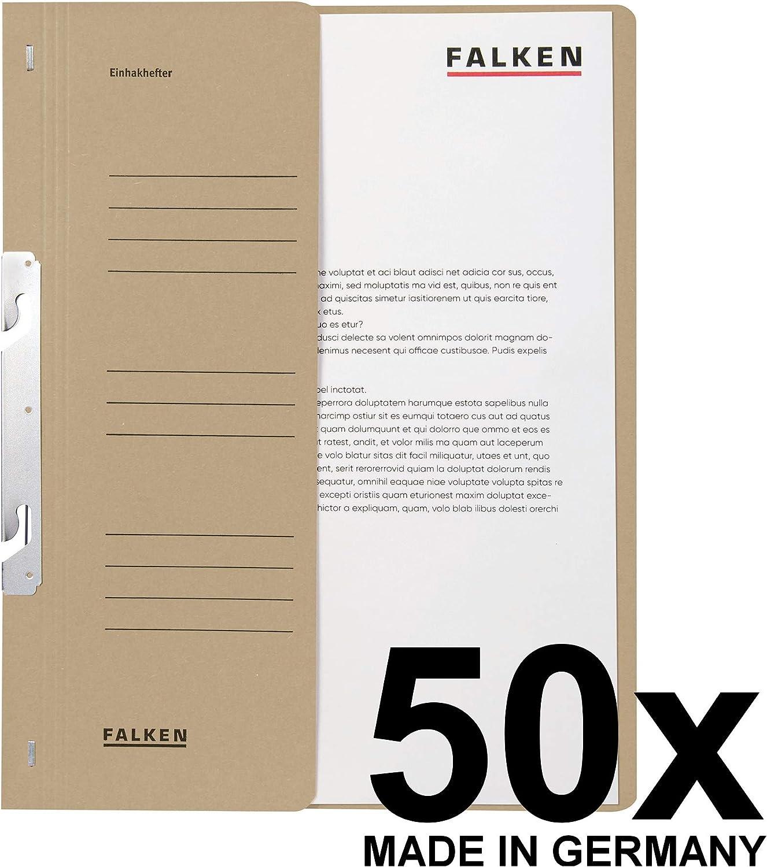 Original Falken 50er Pack Einhakhefter Aus Recycling-Karton mit ganzem Vorderdeckel und Beh/ördenheftung f/ür DIN A4 grau Hefter Sammelmappe Dokumentenmappe Made in Germany