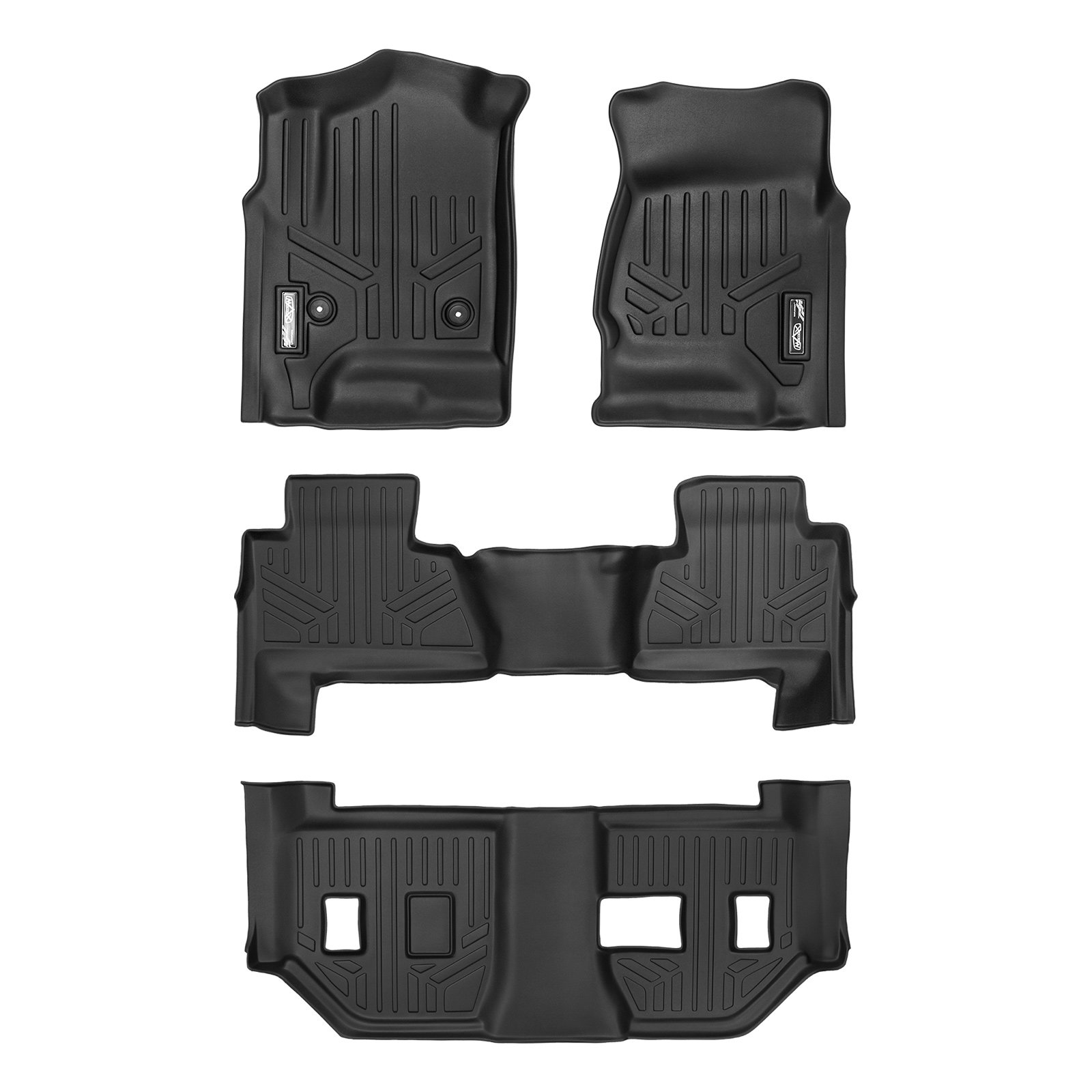 SMARTLINER Floor Mats 3 Row Liner Set Black for 2015-2018 Chevrolet Suburban / GMC Yukon XL (with 2nd Row Bench Seat)
