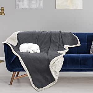 """Waterproof Dog Blanket,Sofa Couch Covers Furniture Protector for Large Dogs Cats Puppy,Pet Cushion Mat for Bed Car Seat by Pawsse 80""""x60"""" Grey"""