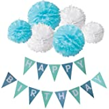 Decoraciones de Feliz Cumpleaños, Wartoon HAPPY BIRTHDAY Papel feliz cumpleaños empavesado Banner guirnalda Banderines bandera y 6 Piezas Papel de Seda Pom Poms Pompón Bola de la Flor para Decoraciones del Partido Fiesta de Cumpleaños(Blanco y Azul)
