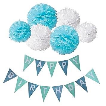 Deco Joyeux Anniversaire Wartoon Happy Birthday Bannière Banderole Joyeux Anniversaire 6 Paquets Pompon Papier De Soie Boules De Fleurbleu Et