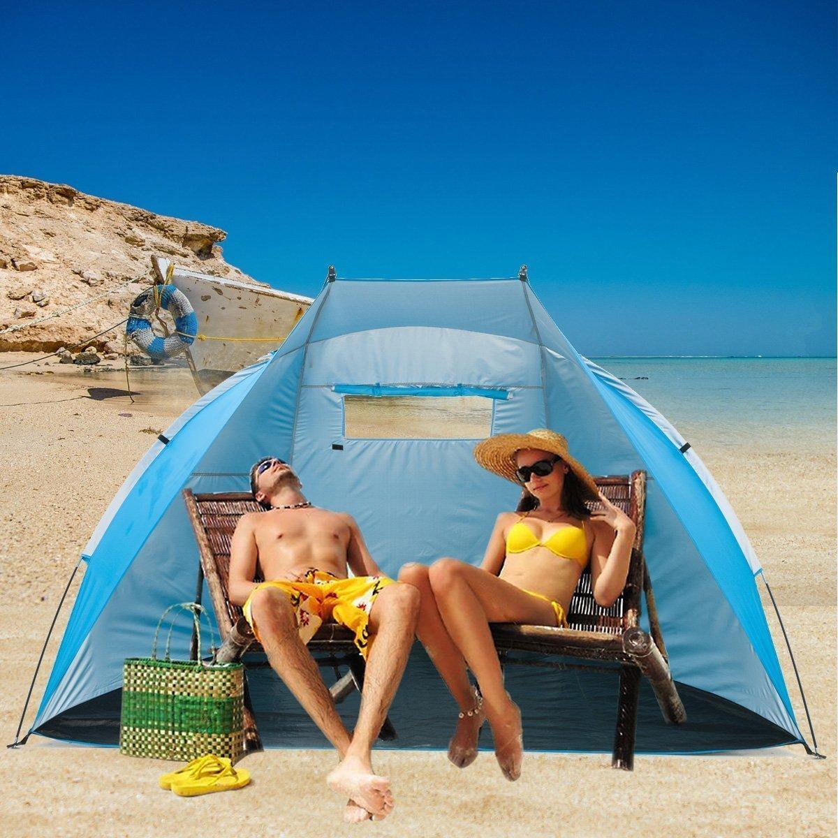 Extra Large Beach Cabana Tent Sun Shelter Sunshade Outdoor Portable UPF 50+, 94.5'' L x 47.2'' W x 55'' H,Light Blue (Light Blue) by Suhleir