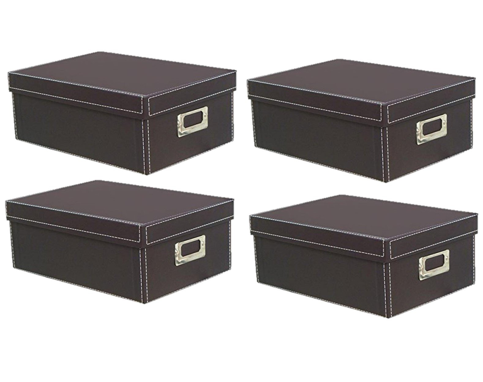 KVD Photo Storage Boxes, for 4x6 5x7 Photos, DVDs and Negatives, Brown 4pk