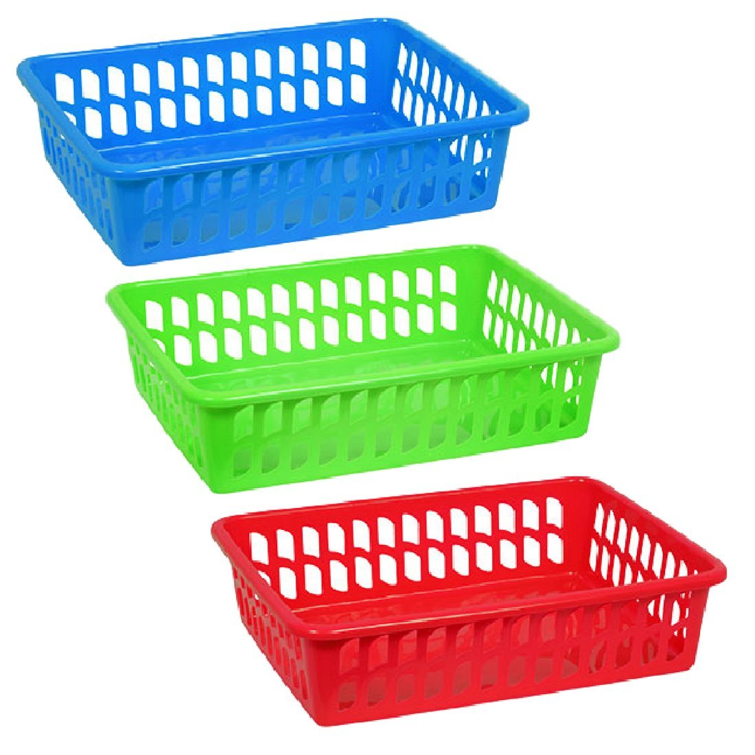 Shallow Plastic Baskets Letter Trays Set of 3 Colors Red Blue Green School, Office, Classroom, College Dorm, Day Care 15.625x11.875x4-in