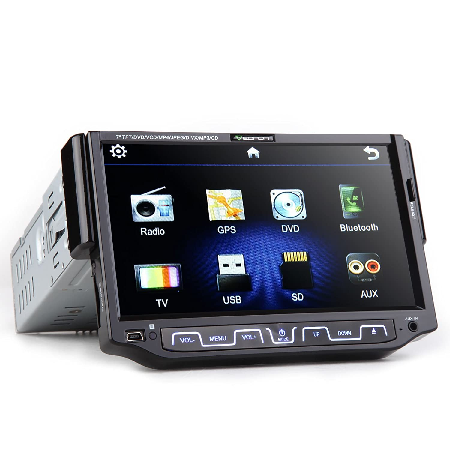 Amazon.com: Eonon 7 Inch Single DIN in Dash Car Monitor with DVD Player, Support Bluetooth, Touch Screen, Detachable Front Panel: Car Electronics