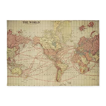 Amazon.com: CafePress Vintage World Map Decorative Area Rug, 5'x7
