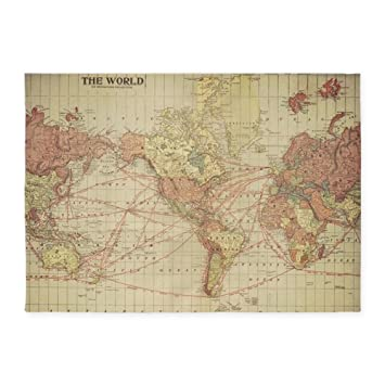 Amazon cafepress vintage world map decorative area rug 5 cafepress vintage world map decorative area rug 5x7 throw rug gumiabroncs Image collections