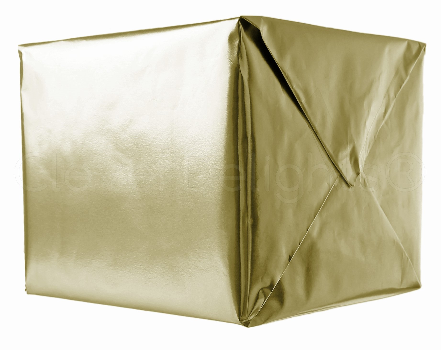 CleverDelights Metallic Gold Wrapping Paper - 30'' x 300'' JUMBO Roll - 62.5 Sq Ft - Shiny Gift Wrap Paper