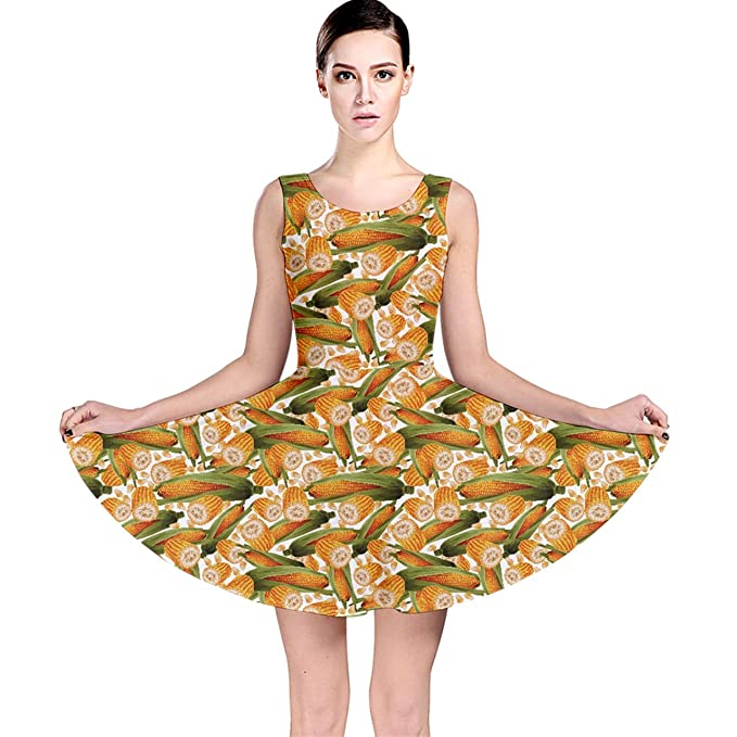 2bec35fc2fd3f CowCow Colorful Vegetable Organic Food Yellow Corn Stalk Pattern Skater  Dress
