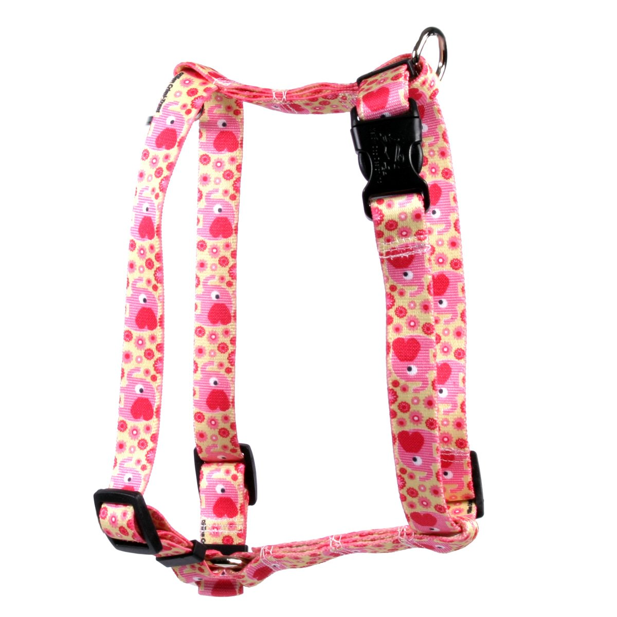 Yellow Dog Design Pink Elephants Roman Style H Dog Harness-X-Small-3/8 and fits Chest 8 to 14'' by Yellow Dog Design
