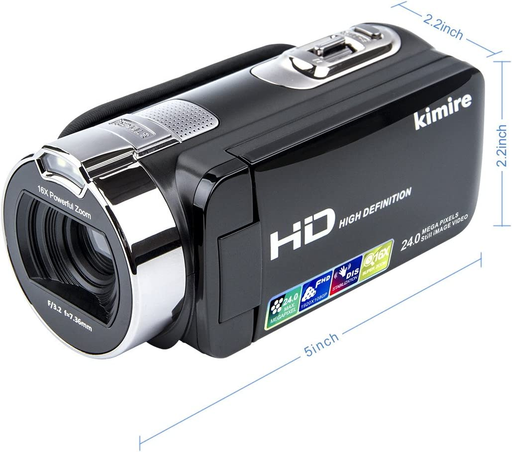 Vlogging Camera Video Camera Camcorder Digital Recorder,Kimire HD 1080P 24 MP 16X Powerful Digital Zoom Video Camcorder 2.7 Inch LCD with 270 Degree Rotation Screen (312P) 71MAFsqqzrL