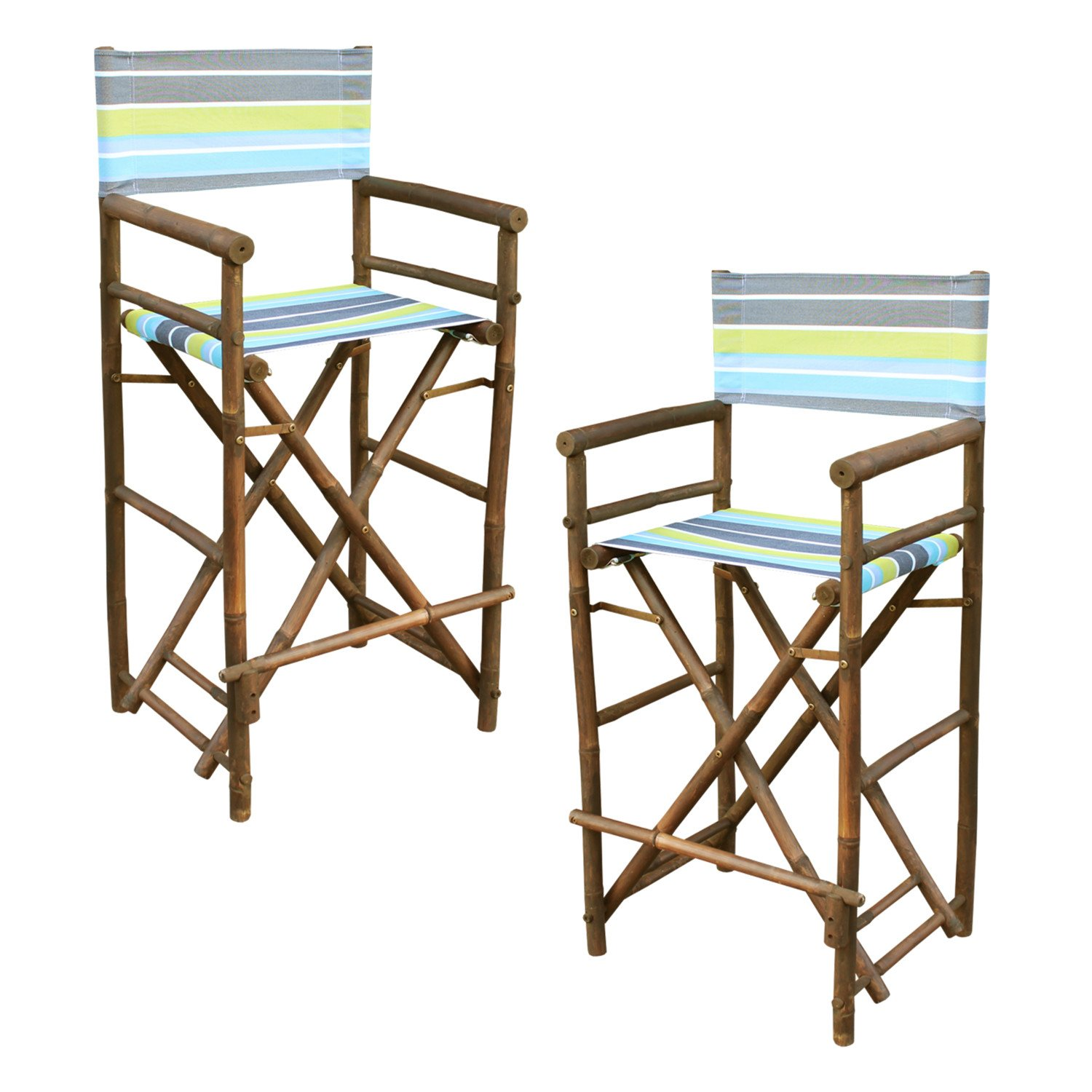 Statra Bamboo Barstool-Espresso Color Green Stripes Canvas Bar Height Folding Chairs Counter Stool Outdoor Indoor Tall Camping Set of 2, 15 x 15 by Statra