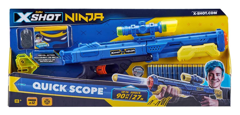 Zuru 36318 X-Shot Ninja Quick Scope Blaster - Juego de 12 Dardos, Bandana y Placas para Perros
