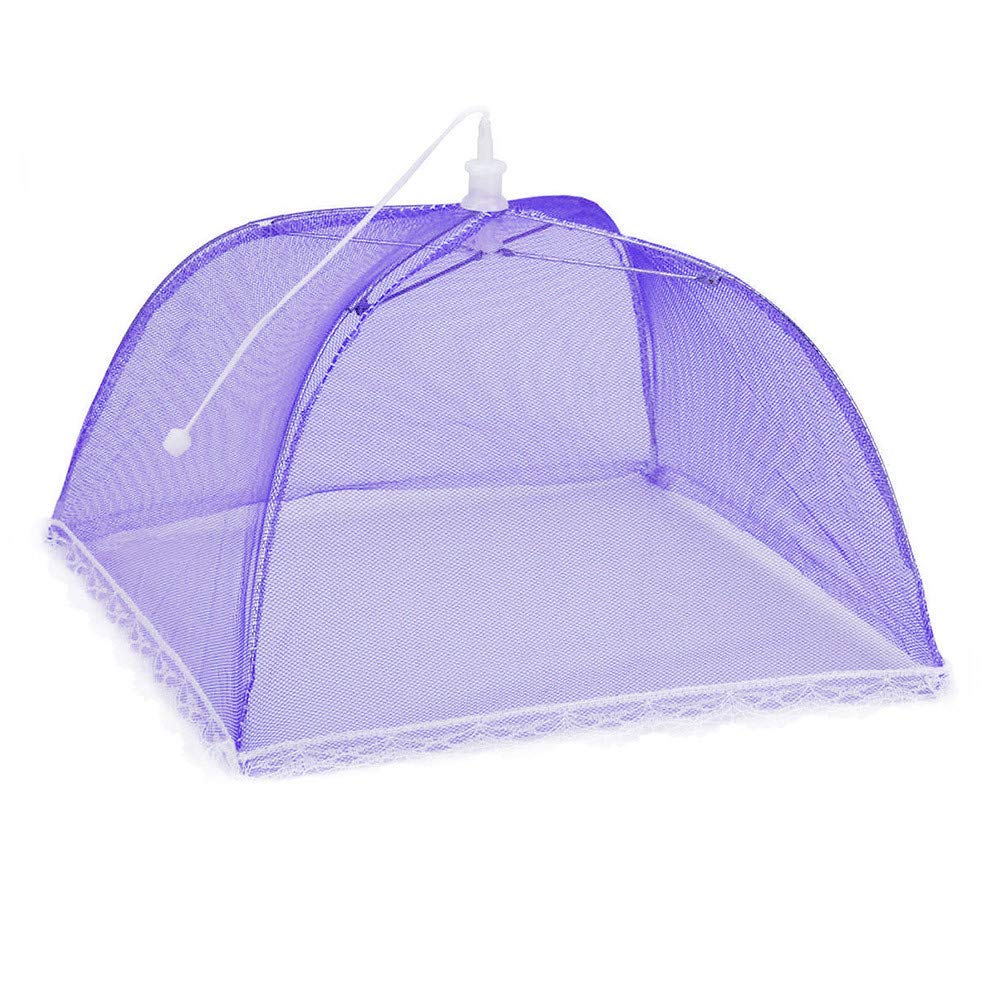 2Pcs Mesh Food Covers Tent Umbrella Pop up Mesh Screen Food Cover Tent Mesh Food Covers Indoor Outdoor Collapsible and Washable Keep Flies, Mosquitoes, Bees and Other Bugs Away From Your Food (Purple)