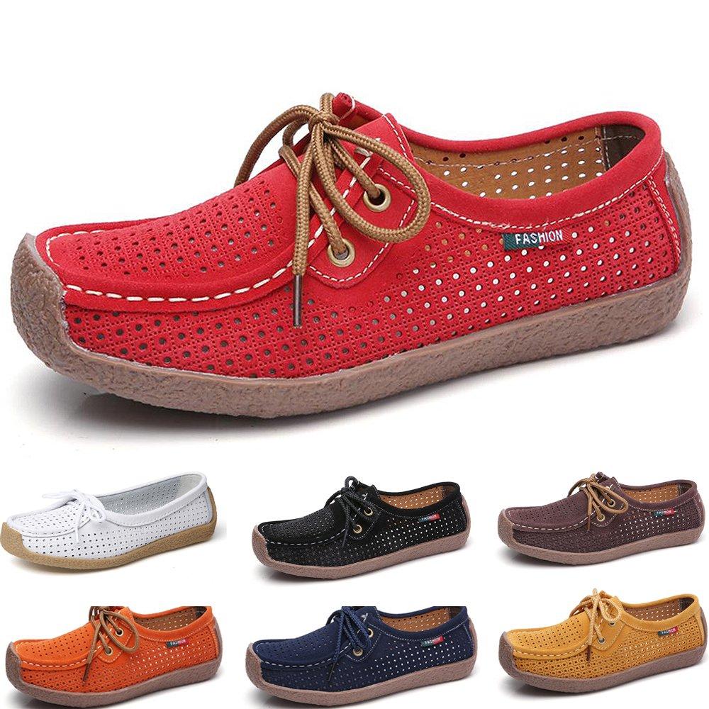 Mocassins Slip Femmes Confortable Cuir Loafers Casual Loafers Slip on Conduite Chaussures Flats de Conduite Rouge 914f78e - robotanarchy.space