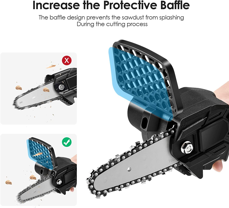 4YANG Mini Motosega Portatile con Deflettore//Batteria al Litio Ricaricabile Seghe Elettriche a Catena a Batteria Batterie da 4 Pollici 2 Pezzi per la Potatura del Legno di Rami da Giardino