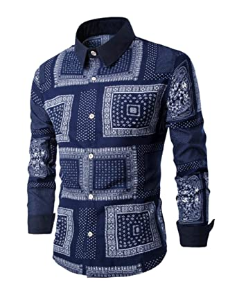 c7bf80f4b1b6e FLCH+YIGE Men s Stylish Geometric Print Tops Lapel Long Sleeve Ethnic Style  Shirt Navy Blue