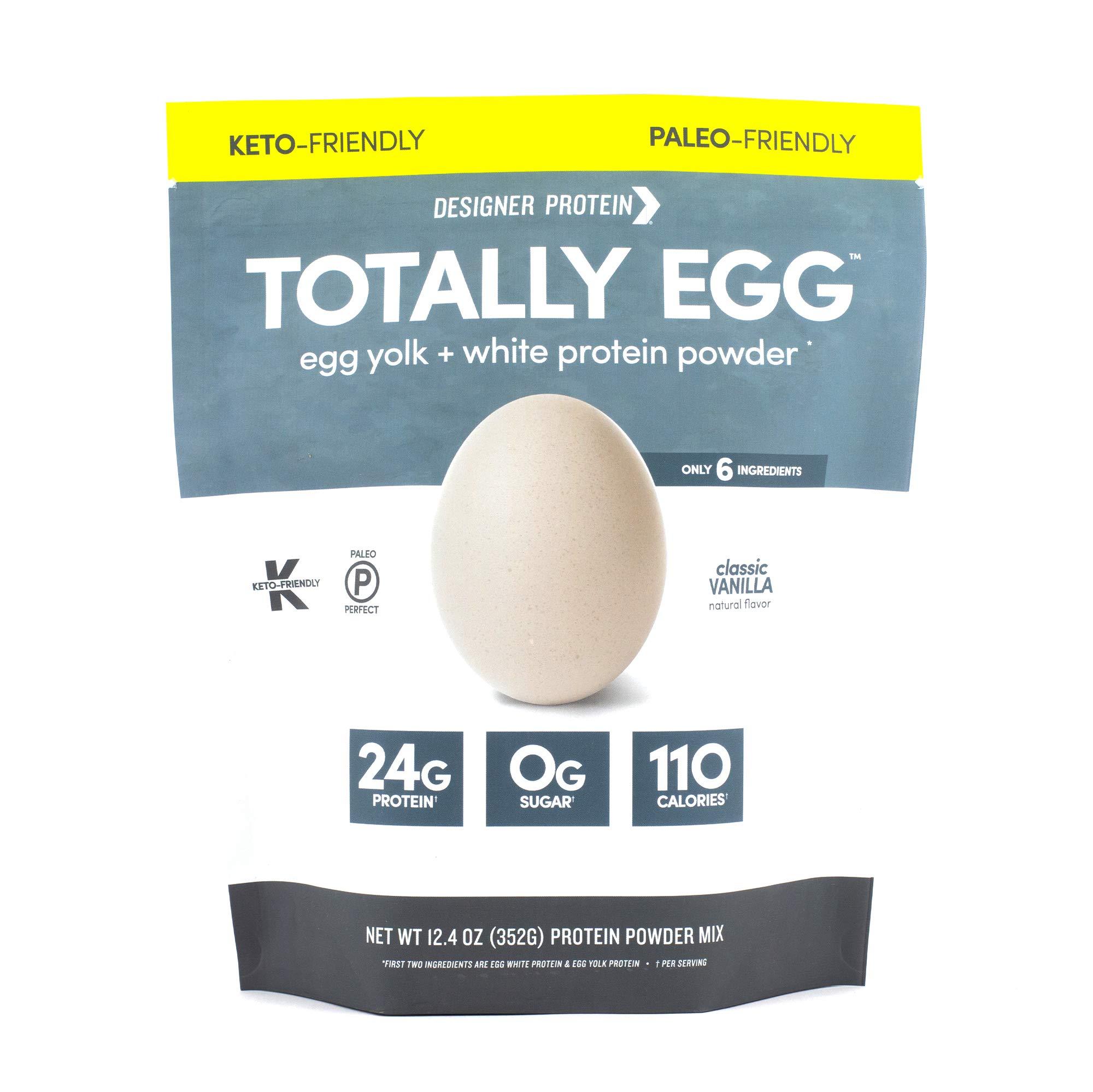 Designer Protein Totally Egg, Classic Vanilla, 12.4 Ounce, Egg White & Yolk Protein Powder by Designer Protein