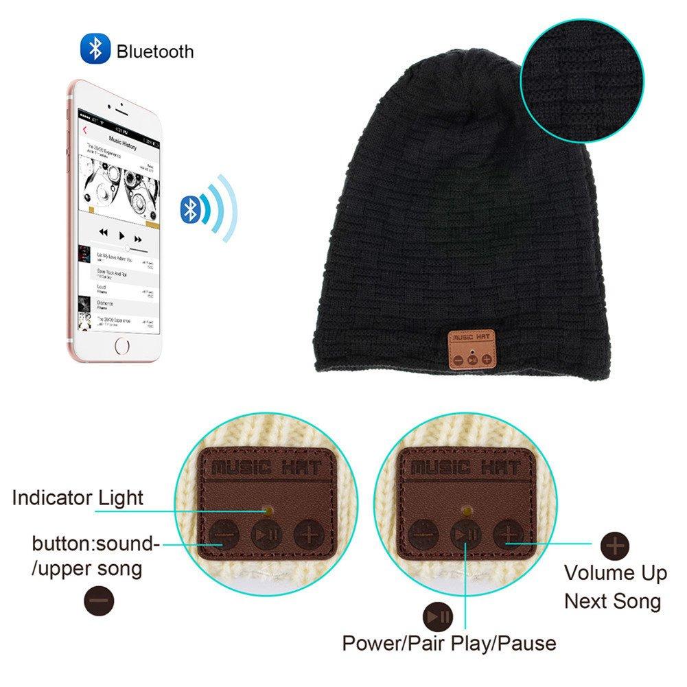 Bluetooth cuffie senza fili cappello Bluetooth Beanie Hat Cappello Music  unisex berretto caldo morbido maglia tappi per uomini e donne regalo di  natale ... 2fa4c8365582