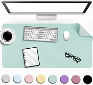 "Non-Slip Desk Pad, Waterproof PVC Leather Desk Table Protector, Ultra Thin Large Mouse Pad, Easy Clean Laptop Desk Writing Mat for Office Work/Home/Decor (Pale Green, 23.6"" x 13.7"")"