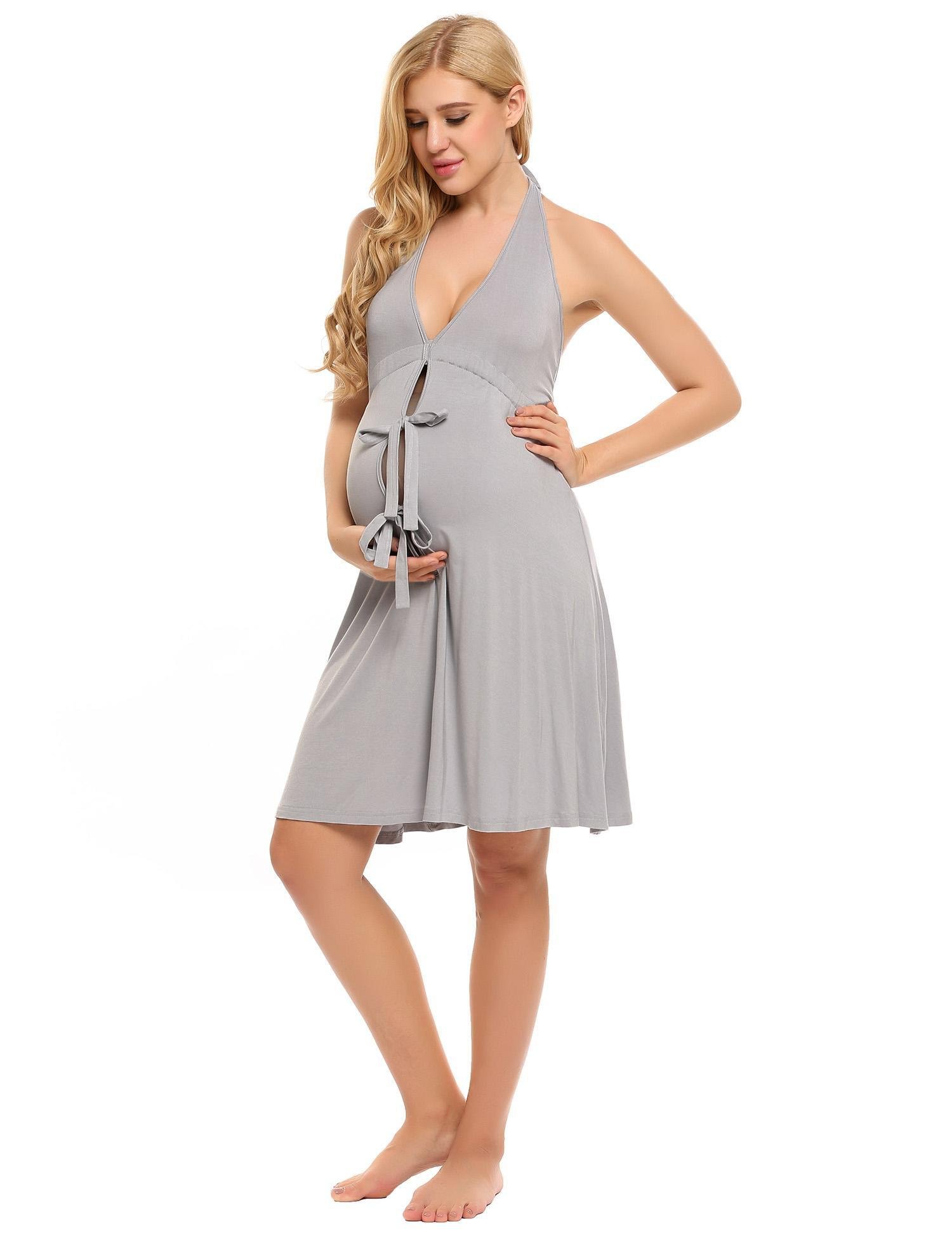 Baguet Womens V Neck Backless Maternity Dress Labor Gown For Free Size Pregnancy/Breastfeeding Front Open Pleated Dress