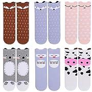 Unisex Baby Girls Socks,Gellwhu 6 Pairs Toddler Boy Animal Knee High Socks (1-3 Years, 6-Pack Set A)