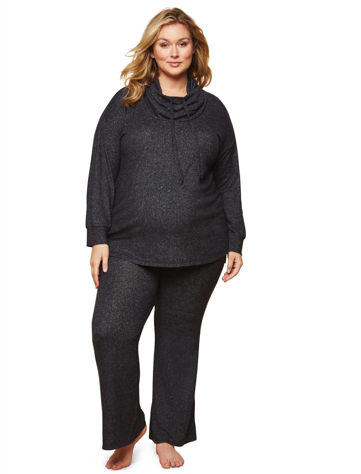 Motherhood Maternity Women's Maternity Plus-Size Knit Secret Fit Belly Wide Leg Lounge Pant, Black and Grey Marl, 1X
