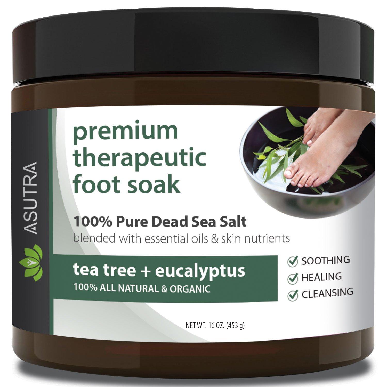 "Premium Therapeutic Foot Soak - ""TEA TREE + EUCALYPTUS"" + Free Pedicure Pumice Stone - 100% Pure Dead Sea Salt With Skin Healing Nutrients & Organic Essential Oils - Large 16oz"